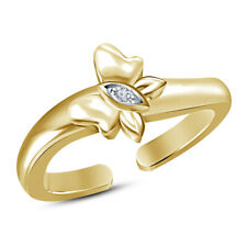 White Diamond Butterfly Design Toe Ring 14K Yellow Gold Over Adjustable Round