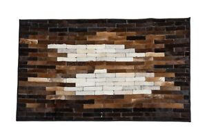Aydin Mosaic Brown White Cowhide Patchwork Area Rug Rectangle 3'7''X6'0''