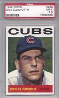 1964 Topps baseball card #220 Dick Ellsworth, Chicago Cubs PSA 7.5 NM+