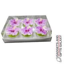 CACTUS TEA LIGHT CANDLE SET OF 6 ORCHID FLOWER Home decor accessory