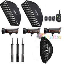 GODOX QT800 3x800W High Speed Studio Strobe Flash Light +Softbox +Trigger +Stand