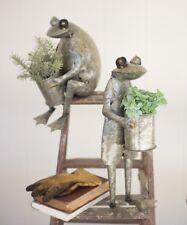 Metal Frog Planter Pot Garden Decor Yard Art Set of 2