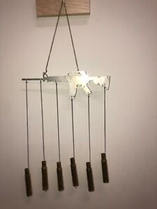 AR 15 50 Cal Bullet Gun Shell Ammo Wind Chime 2nd Amendment Stainless Steel