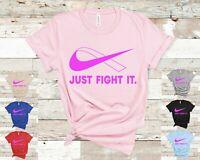 Just Fight It T-Shirt PINK Ribbon Crossover logo Breast Cancer October Survivor