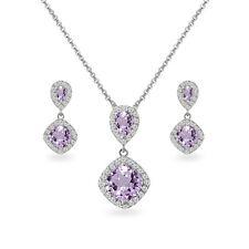 Amethyst & White Topaz Dangle Earrings & Necklace Set in Sterling Silver