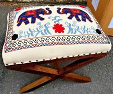 WOOD & FABRIC RED BLUE ELEPHANT EMBROIDERED FOOTSTOOL POUFFE FOOTREST DECORATIVE