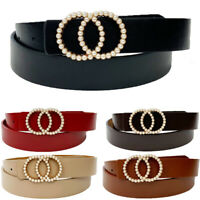 Fashion Women Leather Waist Belt Luxury Pearl Rhinestone Studded Buckle  Belts