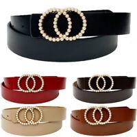 Fashion Women Leather Waist Belt Luxury Pearl Rhinestone Studded Buckle Belts dp