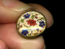 Antique DUG Button...Design Under Glass w Pearl Chip Background Colorful Flowers