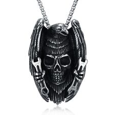 "Mens Stainless Steel Gothic Skull Head Pendant 24"" Box Link Chain Necklace #N148"