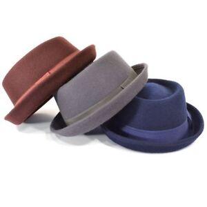 Media Copa Pork Pie Sombrero de Fieltro Lana Unisex Tipo Fedora Jazz Azul Gris
