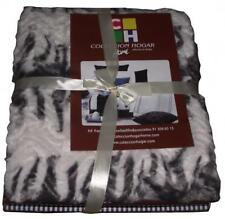 Throw Rug Zebra Pattern Grey White Stripe Blanket Soft Bedroom lounge Sofa Bed