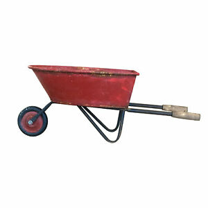 Large Wheelbarrow Shaped Plantpot with a Red Finish, Ideal as Christmas Decor