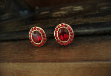 Vintage Oval Gold and Ruby Red Crystal Clip-On  Earrings
