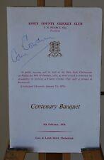 Essex County Cricket 1976 Menu Signed Autograph Colin Cowdrey Doug Insole