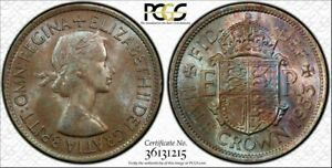 1953 GREAT BRITAIN HALF CROWN PCGS MS64 BU COLOR TONED COIN IN HIGH GRADE