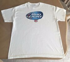 BUD LIGHT BEER T-SHIRT XL FOOTBALL NFL TEE White with Blue Football