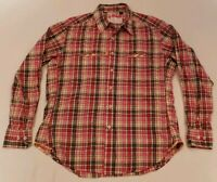 Robert Graham Long Sleeve Button Front Shirt Sz M Plaid Mens Red Pink Yellow