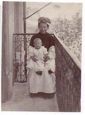 PHOTO ANCIENNE Bébé Nourrice Coiffe Métier Vers 1900 Costume Balcon Manchette