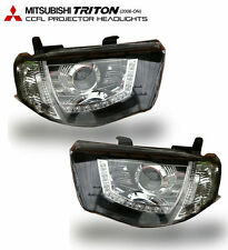 MITSUBISHI TRITON L200 MN ML 05-14 CCFL HEADLIGHT PROJECTOR  BLACK SMOKE LENS