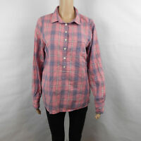 J Crew Womens Pink Blue Plaid Half Button Long Sleeve Shirt Size M Medium