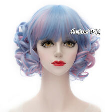 Lolita Blue Mixed Pink Short Curly Halloween Ombre Fashion Party Cosplay Wig+Cap