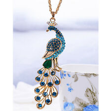 Fashion 18K Gold Plated Crystal peacock Pendant Necklace sweater chain