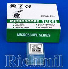 "50 New Microscope Slides 1x3"" + 100 Coverslips 20x20mm"