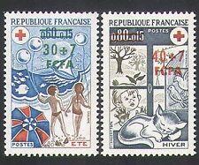 Reunion 1974 Red Cross/Medical/Welfare/Cat/Bird/Beach/Seasons 2v set (n34778)