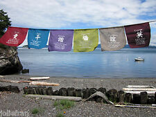 UNIQUE CONTEMPORARY 6 WISHES PRAYER FLAGS HAND-MADE AMAZING COLORS & FABRIC BALI