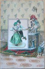 1910 Postcard-Nude Woman, Perfume Vanity & Diecut Scrap