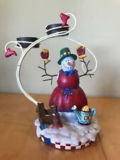 Cute Snowman In The Garden Tea Light Votive Christmas Candle Holder Music Box