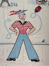 Vtg 1950 Beach Towel MCM Kitsch Sailor Eiffel Tower Gondola Windmill Big Ben USA