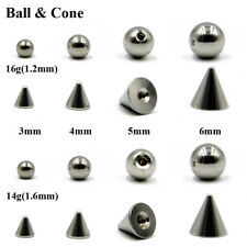 Body Jewelry Piercing Replacement Ball Stainless Steel Ball & Cone For 14g 16g