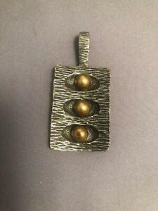 Vintage Robert Larin Canadian Brutalist Pewter S.P. Modernist  Necklace Pendant