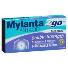 Mylanta 2go Double Strength Chewable Antacid Tablets 24 Pack Heartburn