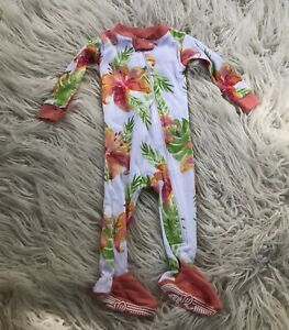 BURT'S BEES BABY GIRLS ONE PIECE TROPICAL LILY OASIS SLEEPER SIZE 3-6 MONTHS Pjs