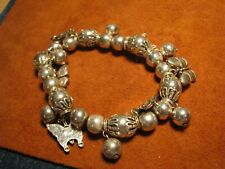 SILVER TONE BIG BEADS N BUTTERFLY CHARMS -STRETCHY BRACELET FITS SIZE 7-1/2
