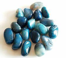 28-40 pcs Teal Blue Green Brazil Agate Dyed Tumbled 1/2 lb bulk stones