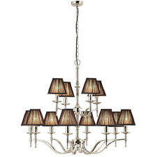 Avery Ceiling Pendant Chandelier Light–12 Lamp Bright Nickel & Black Pleat Shade