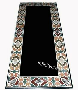 30 x 72 Inches Black Inlay Hotel Table Top Marble Dining Table with Gemstones