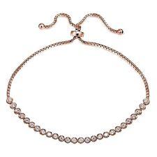 Rose Gold Tone over 925 Silver Cubic Zirconia Bezel Set Adjustable Bracelet.