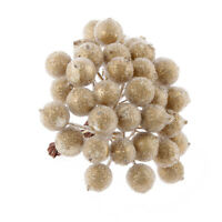 200pcs Christmas Frosted Fruit Artificial Berry Berries Centerpiece Gold