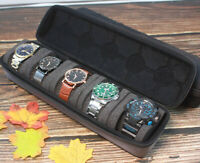 Watch travel case storage box case for 5 watches with sponge pillow BLACK