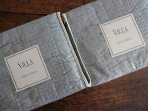 NOBLE EXCELLENCE Villa 2 GRAY Green KING QUILTED Textured FRINGED SHAMS