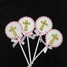 Girls Cross Christening, Baptism Cupcake Topper - Set of 10