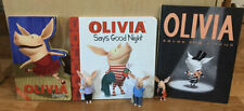 Olivia the Pig Lot of 3 Figures & 3 Books Saves the Circus Says Goodnight & Leap