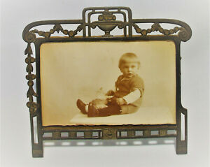 Uralt Jugendstil Bilderrahmen Fotorahmen Rahmen Kinder Foto PK um 1900 Dachboden