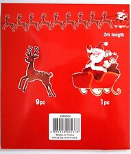 10 ps CHRISTMAS  Reindeer Santa Sleigh Banner Garland Bunting Xmas decoration