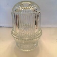 """Vintage HomCo Fairy Lamp Clear Ribbed Glass 6-1/4"""" Tall"""
